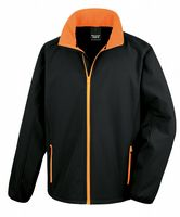 BLACK WITH ORANGE RESULT SOFT-SHELL JACKET